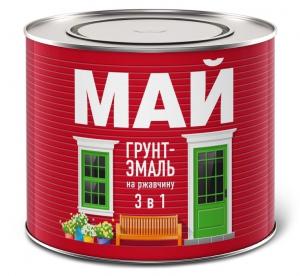 Грунт эмаль 3 в 1 МАЙ на ржавчину 1.9 кг. белая